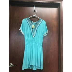 Available By Angela Aqua Blue Dress Embroidered S
